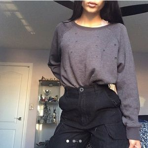 "American Eagle Grey ""holes"" sweater"